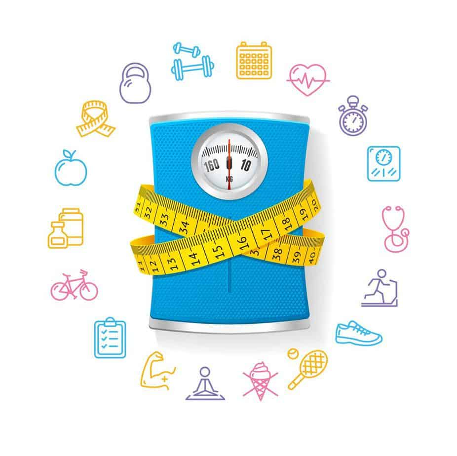 Weight Loss Calculation Tool - Fitness Concept with Blue Bathroom Scale