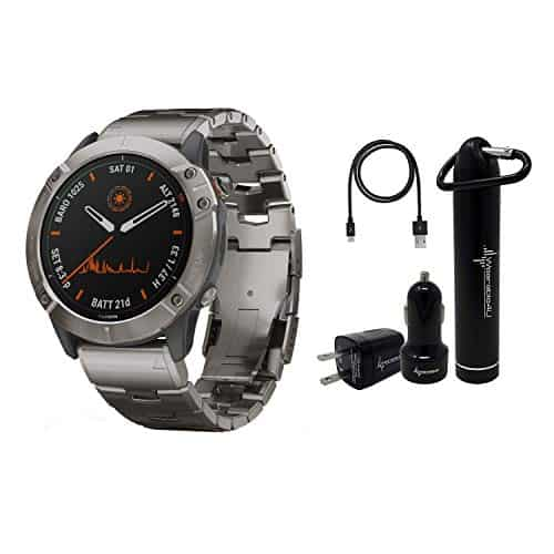 Garmin Fenix 6X Premium Multisport GPS Watches with Pulse OX, Routable Maps and Music with Included Wearable4U Power Pack Bundle (PRO Solar, Titanium with Vented Titanium Bracelet)